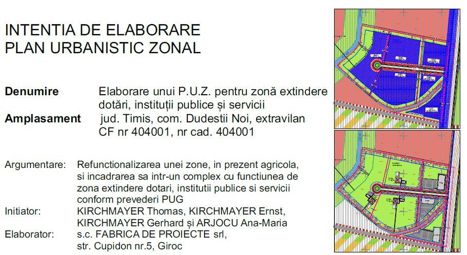 Intenție elaborare P.U.Z.